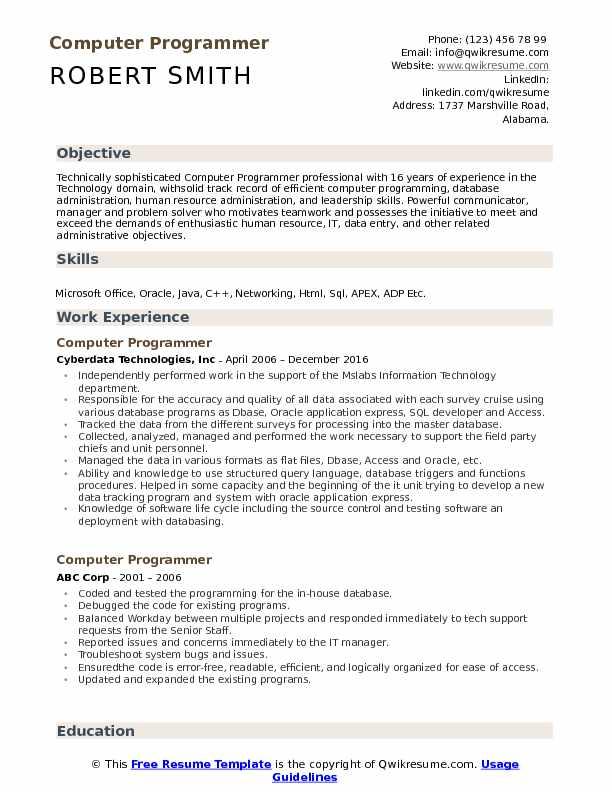 computer programmer resume sample - Computer Programming Resume