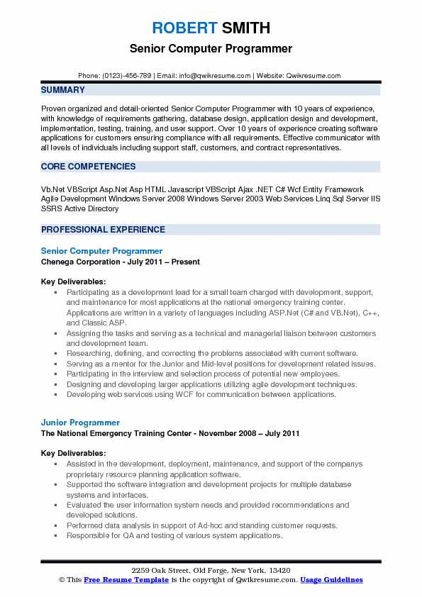 Senior Computer Programmer Resume Sample