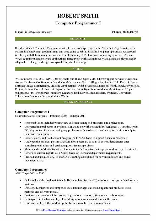 Computer Programmer Resume Samples | QwikResume