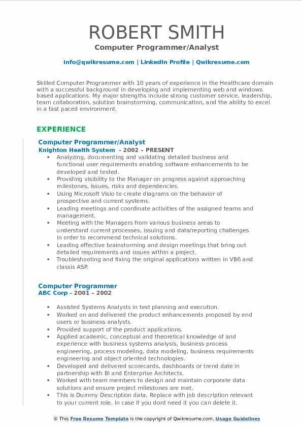 Computer Programmer/Analyst Resume Sample