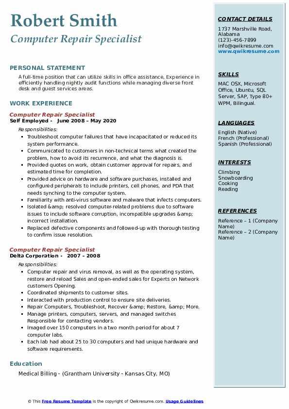 computer repair specialist resume samples  qwikresume