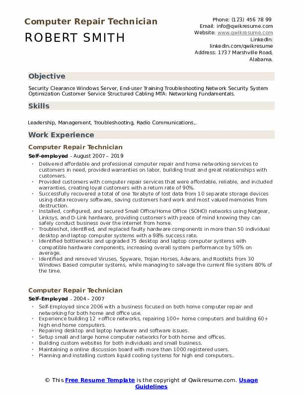 Puter Repair Technician Resume Samples