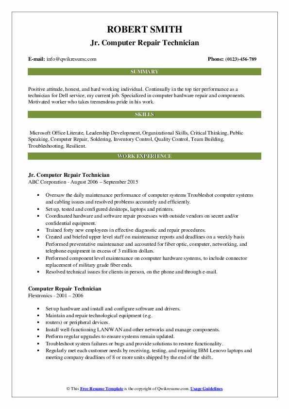 Jr. Computer Repair Technician Resume Format