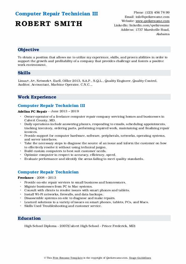 Computer Repair Technician III Resume Format