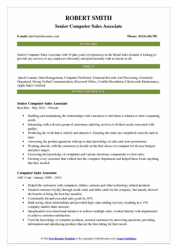 Senior Computer Sales Associate Resume Format