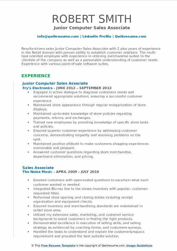 Junior Computer Sales Associate Resume Model