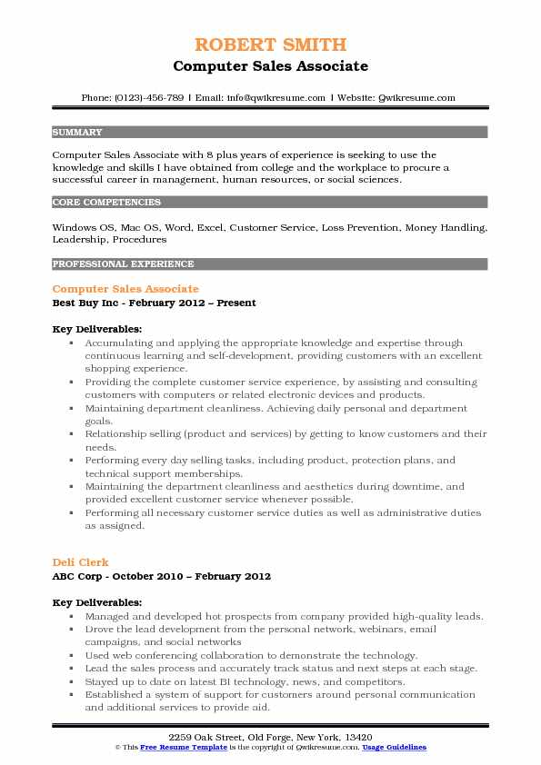 Computer Sales Associate Resume Template