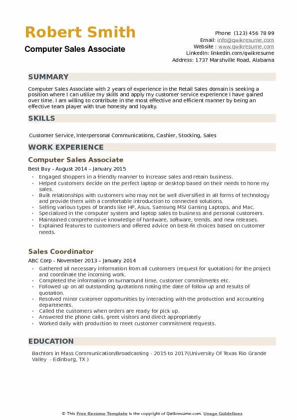 Computer Sales Associate Resume example