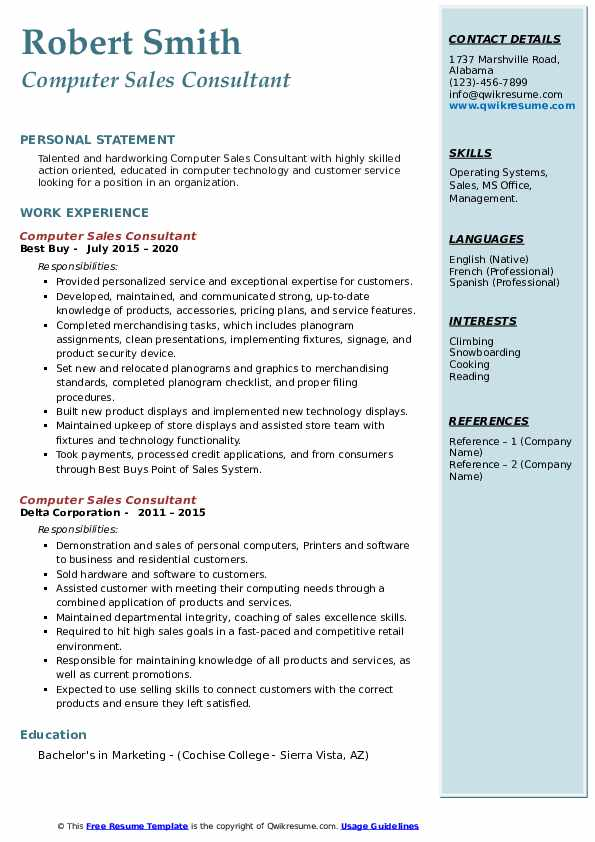 computer sales consultant resume samples  qwikresume