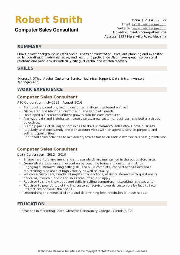 Computer Sales Consultant Resume example