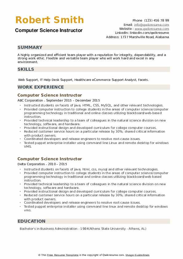 Computer Science Instructor Resume example