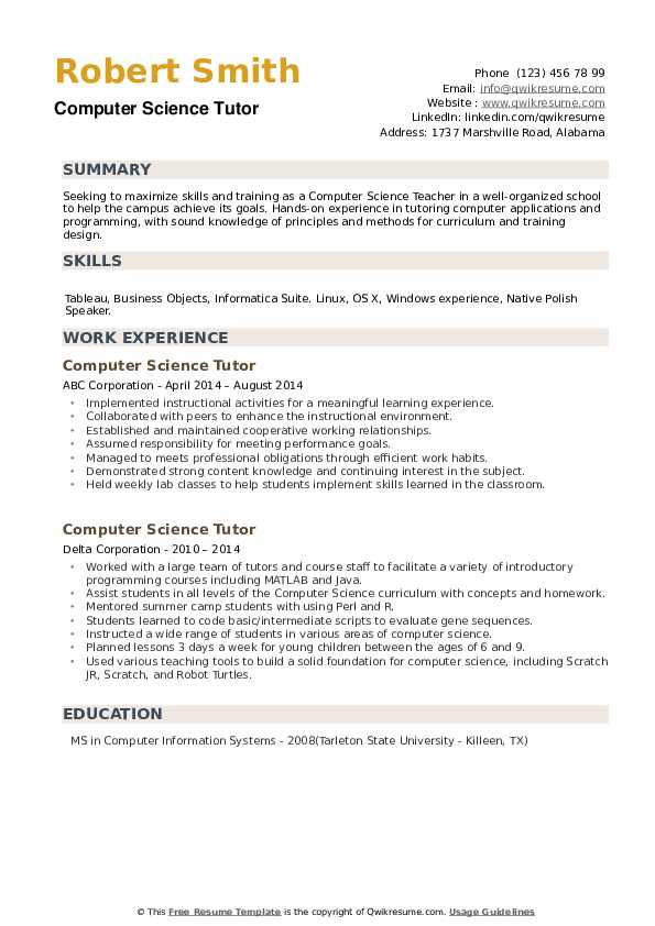 Computer Science Tutor Resume example