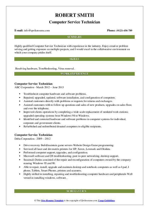 computer service technician resume samples  qwikresume