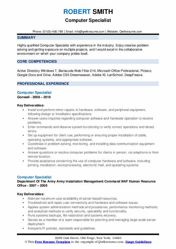 Computer Specialist Resume example