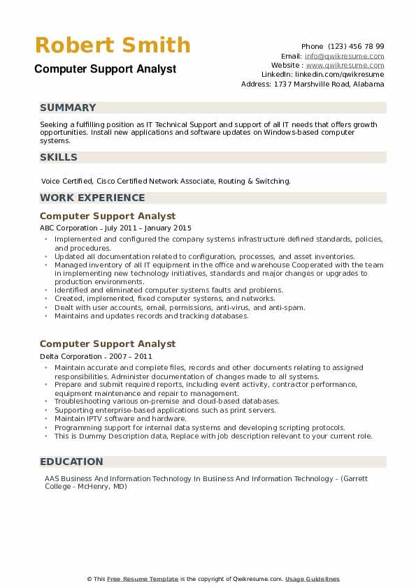 Computer Support Analyst Resume example