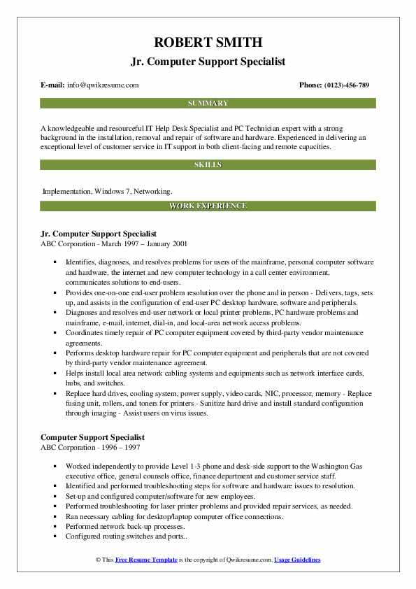Jr. Computer Support Specialist Resume Template
