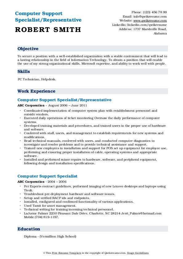 Computer Support Specialist/Representative Resume Template