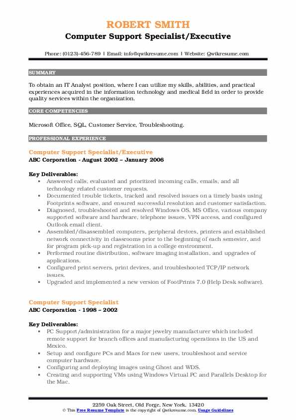 Computer Support Specialist/Executive Resume Format