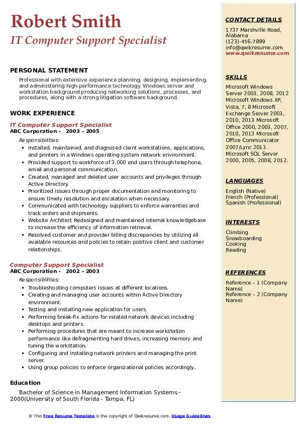 IT Computer Support Specialist Resume Format