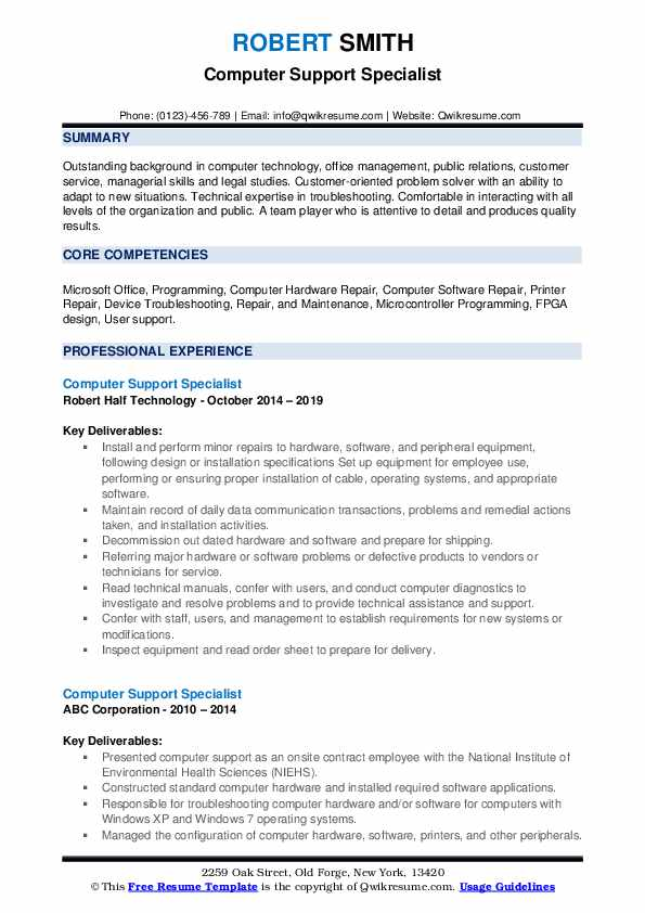 Computer Support Specialist Resume example