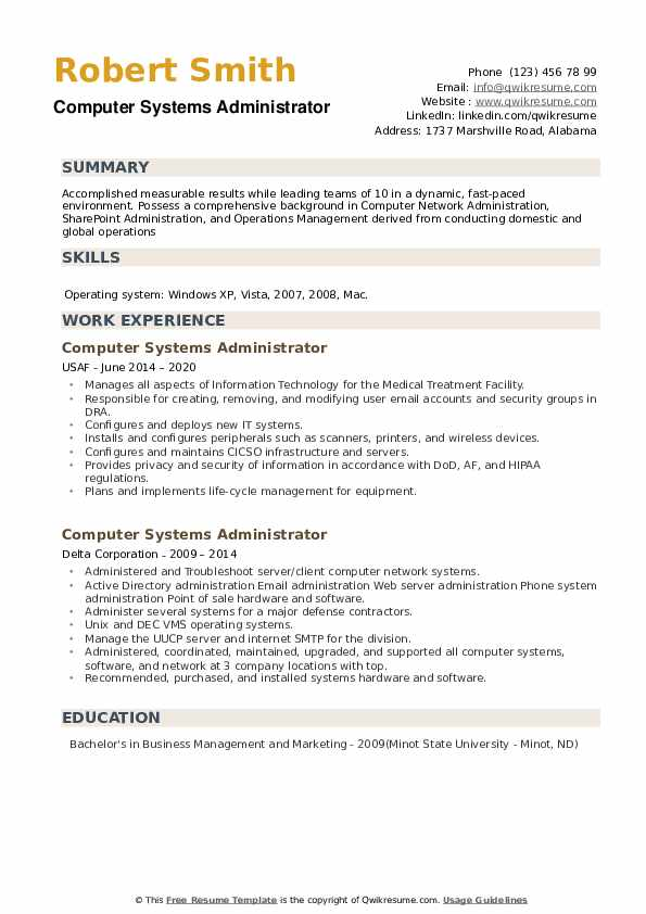 Computer Systems Administrator Resume example