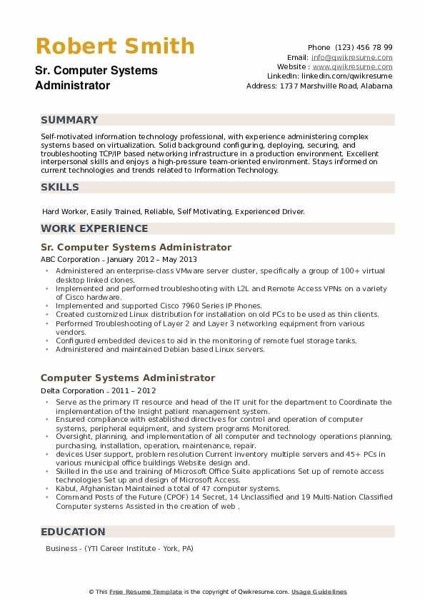 Infrastructure Analyst Resume example