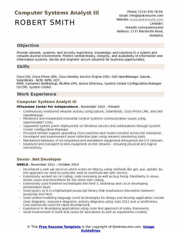 Computer Systems Analyst III Resume Template