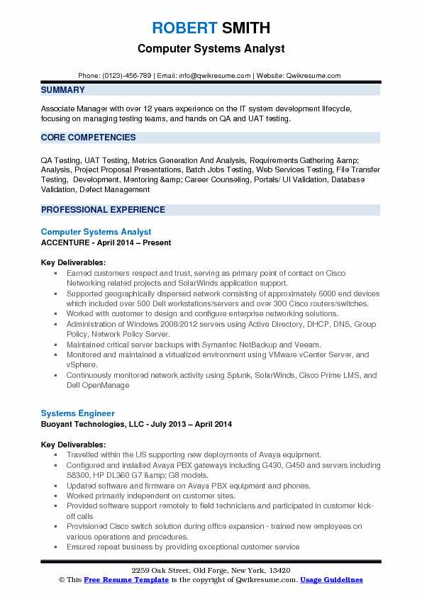 Computer Systems Analyst Resume Example