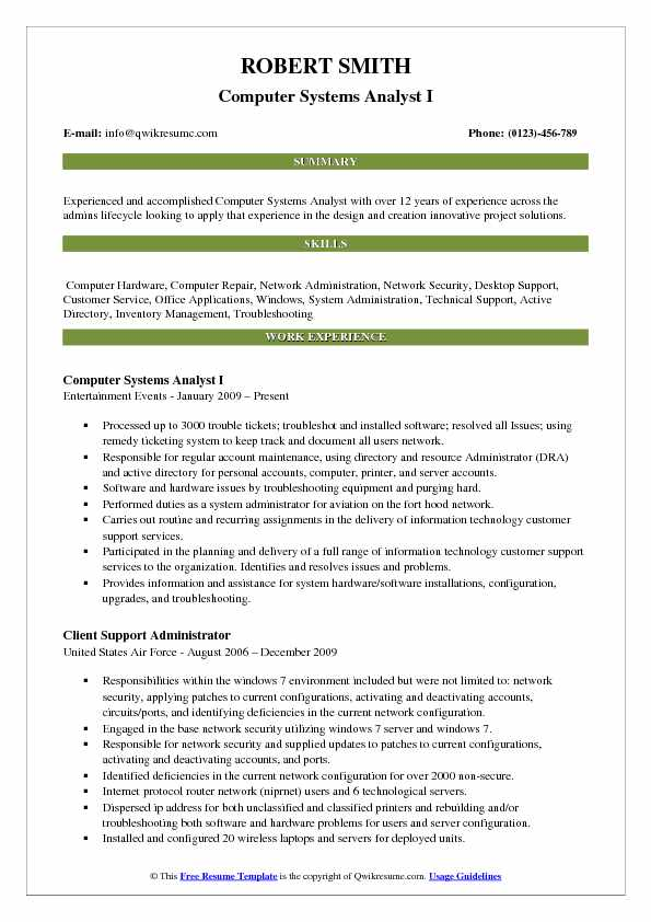 Computer Systems Analyst I Resume Model