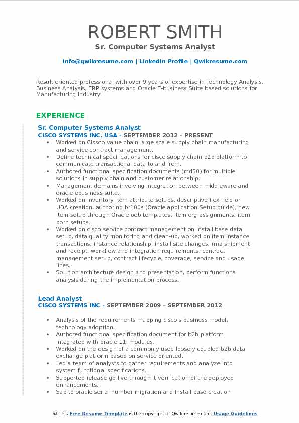 Sr. Computer Systems Analyst Resume Sample  Systems Analyst Resume