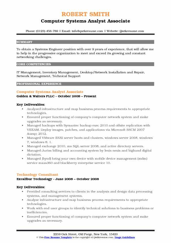 Computer Systems Analyst Associate Resume Model