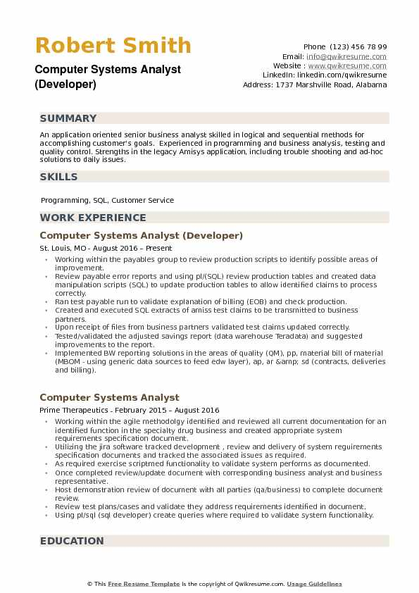 Computer Systems Analyst (Developer) Resume Example