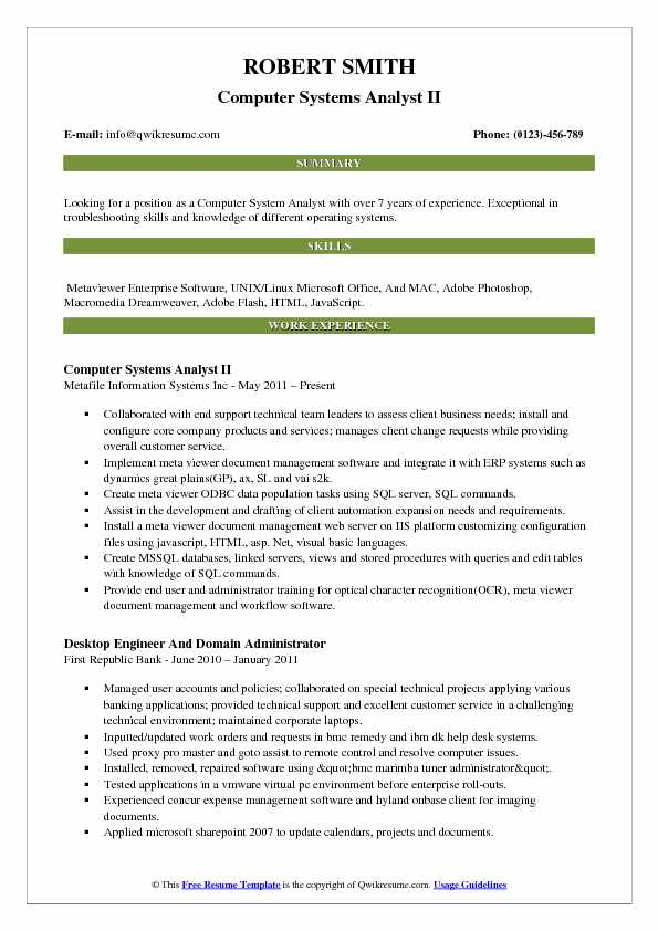 Computer Systems Analyst II Resume Template