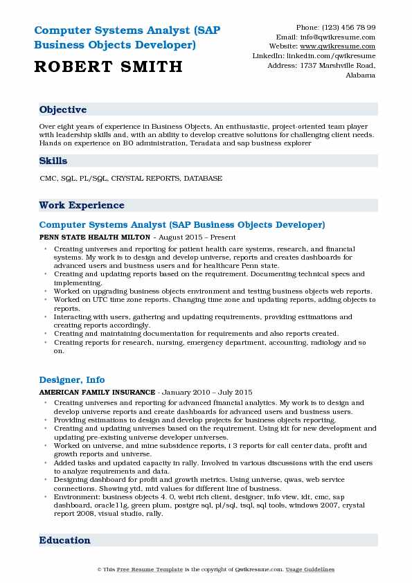 Computer Systems Analyst (SAP Business Objects Developer) Resume Sample