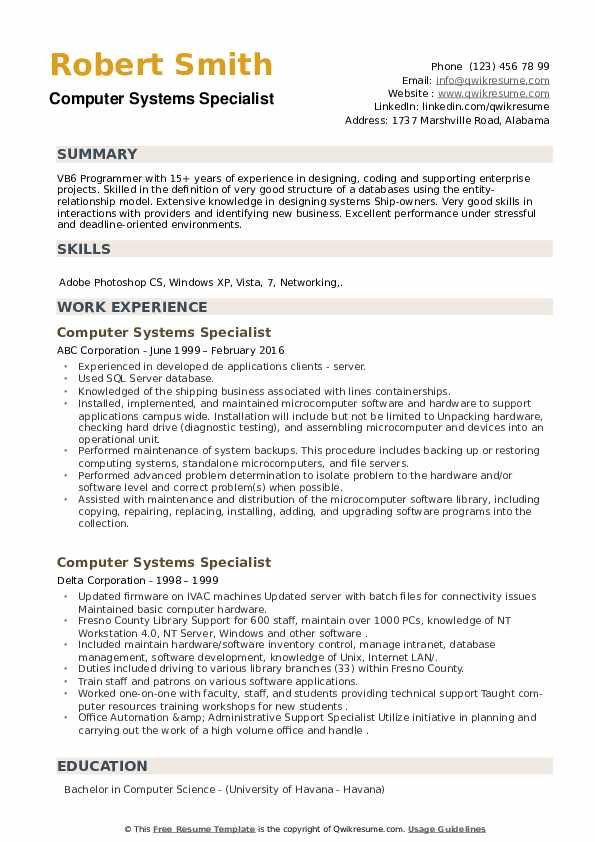 Computer Systems Specialist Resume example