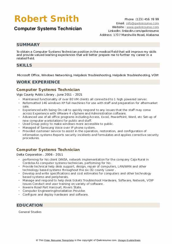 Computer Systems Technician Resume example