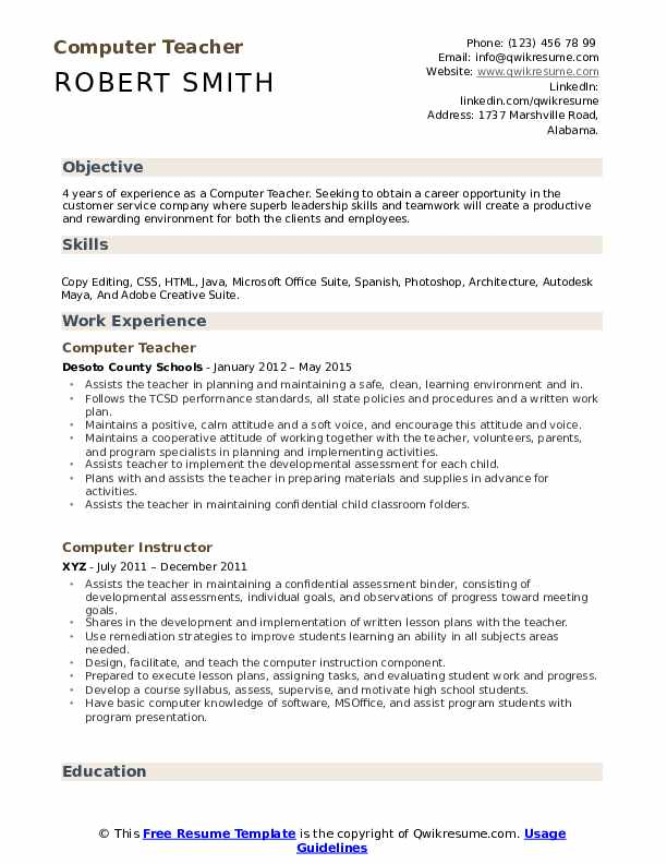 Computer Teacher Resume Samples | QwikResume