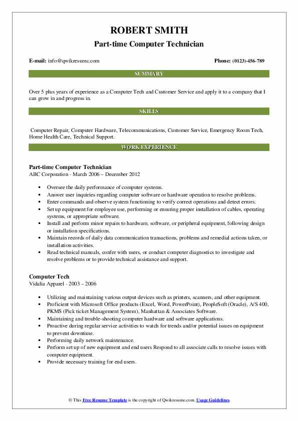 Part-time Computer Technician Resume Sample