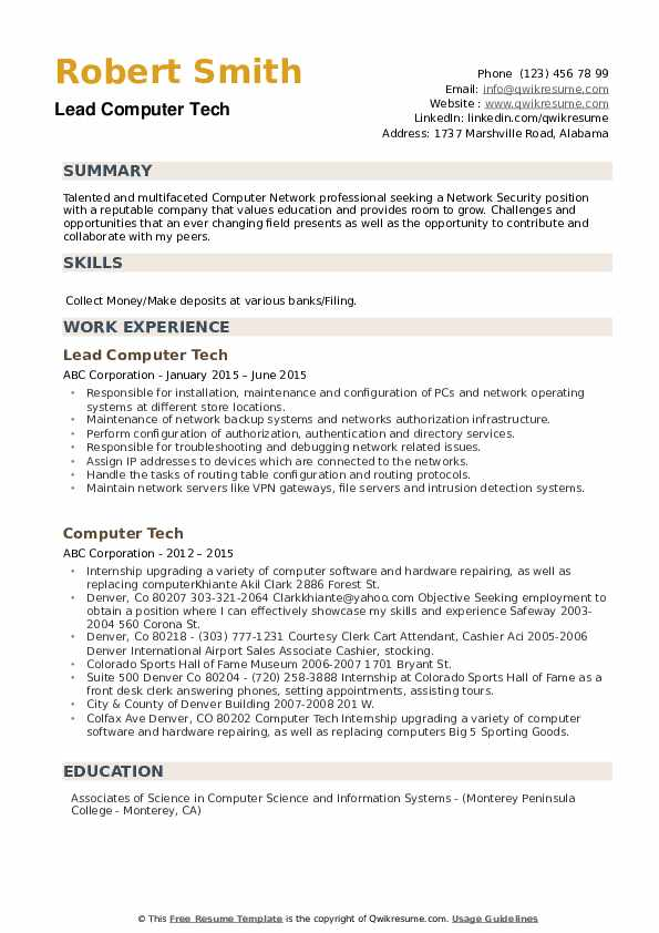 Lead Computer Tech Resume Template