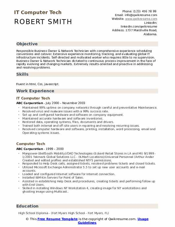 IT Computer Tech Resume Sample