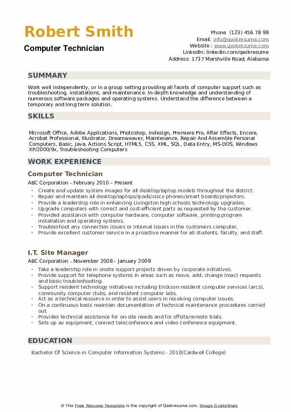 computer technician resume samples qwikresume
