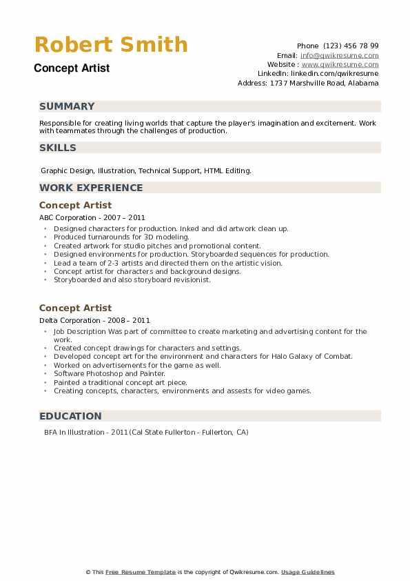 Concept Artist Resume example