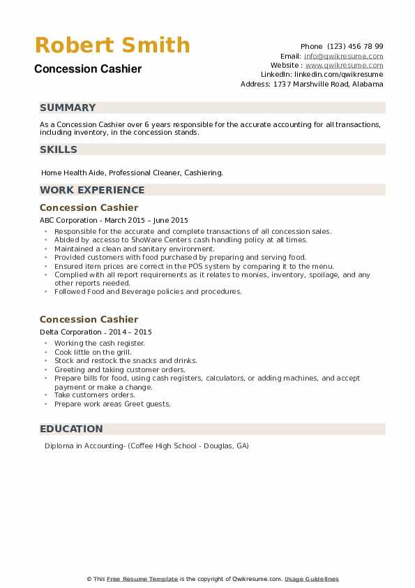 Concession Cashier Resume example