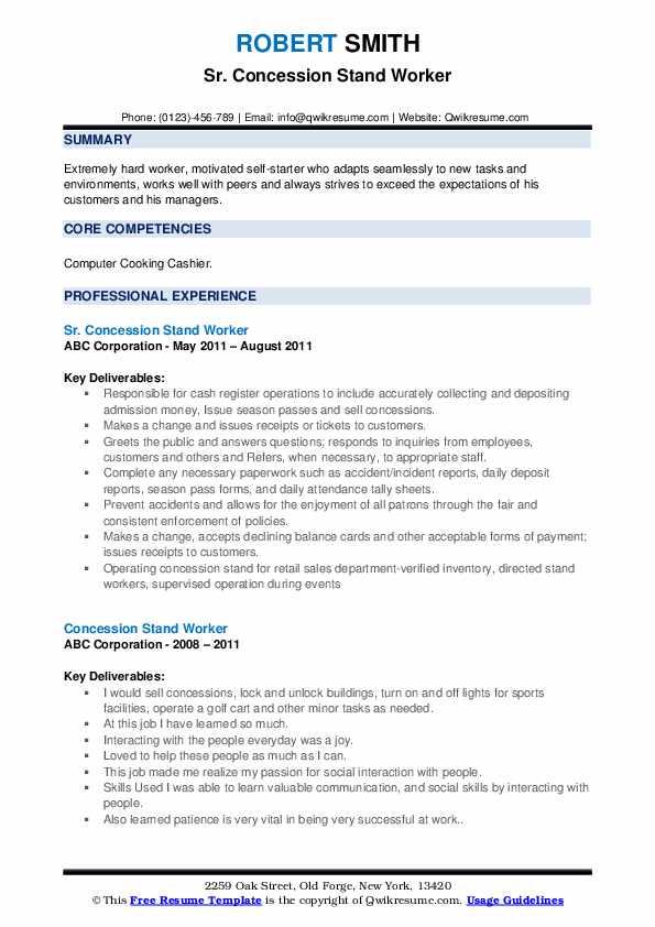 Sr. Concession Stand Worker Resume Model