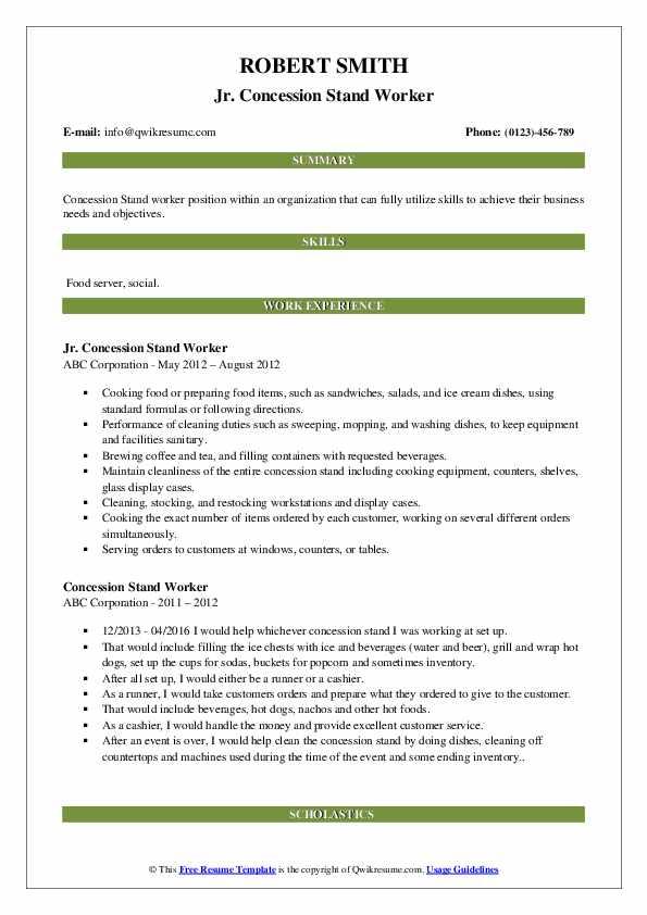 Jr. Concession Stand Worker Resume Sample