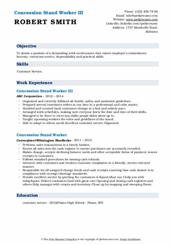Concession Stand Worker III Resume Model