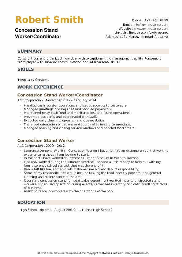 Concession Stand Worker/Coordinator Resume Model