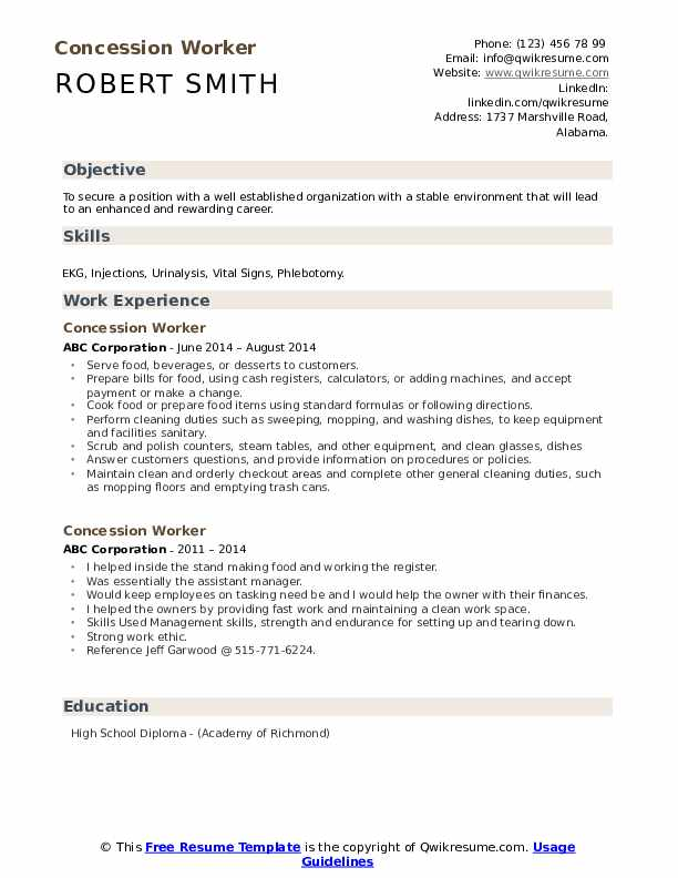 Concession Worker Resume example