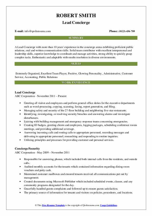 Concierge Resume Samples Qwikresume