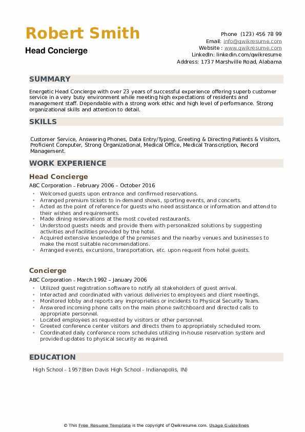 concierge resume samples